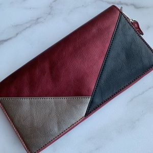 SOLE SOCIETY CLUTCH TRICOLOR FAUX LEATHER BAG
